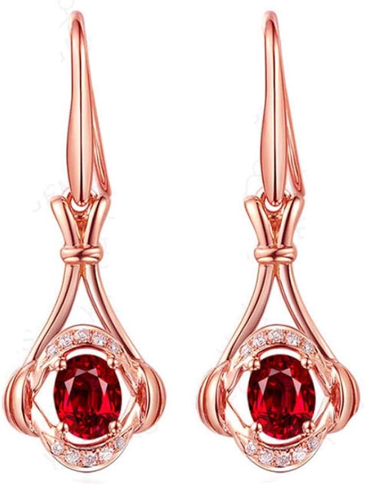 Pendiente Pendientes de rubí en forma de flor de oro rosa de moda para mujeres Compromiso de boda Accesorios de joyería de piedras preciosas creadas