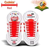 Sports Outdoors Kids Best Deals - Coolnice® No Tie Shoelaces for Kids Outdoor Sports 18pcs- Environmentally Safe silicone - Lazy Shoestrings-Red Color