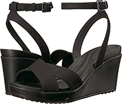 Crocs Women's Leigh Ii Ankle Strap W Wedge Sandal, Blackblack, 8 M Us