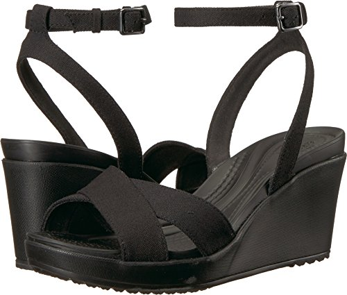 Crocs Women's Leigh II Ankle Strap Wedge W Sandal, Black/Black, 7 M US (Best Shoes For Pregnant Women)