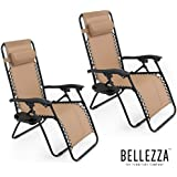 Bellezza© Zero Gravity Chairs Tan Lounge Patio Chairs Outdoor Yard Beach + Cup Holder (Set of 2)