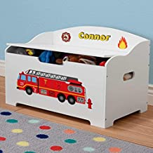 Personalized Dibsies Modern Expressions Toy Box - White (Firetruck)