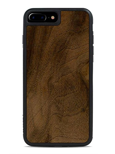 Carved Walnut Shell - CARVED iPhone 7 Plus Walnut Burl Wood Traveler Case by, Unique Real Wooden Phone Cover (Rubber Bumper, Fits Apple iPhone 7 Plus)