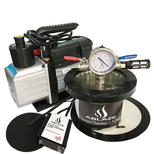 uum Oven Stainless Steel Vacuum Degassing Chamber and 3 CFM Single Stage Pump Kit with Digital Heat Pad ()
