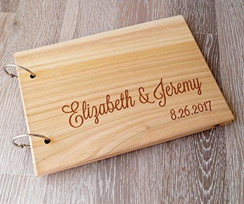 Wooden wedding guest book, rustic wooden wedding guest book album, personalized wedding guest book, wedding sign in - Wooden Album Wedding