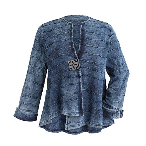 Parsley & Sage Women's Blue Waves Denim Jacket - Stonewashed Cotton Jean Jacket - XL (Jacket Denim Stonewashed)