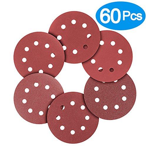 BonyTek 60 PCS 5 Inch 8 Hole Sanding Discs, 10 Discs Each of 180 240 320 400 600 800 Grits Hook and Loop Sander Sand Paper Assortment for Random Orbital Sander