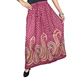 Womens Skirts Red Sequin Embroidered Hippie Retro Long Skirt M