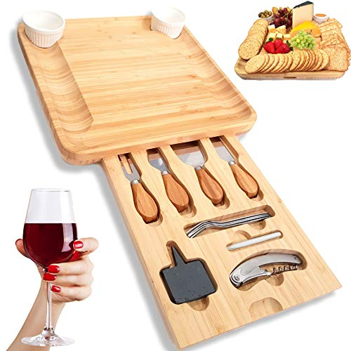 SUMPRI Bamboo Cheese Board Set -Charcuterie Board With Cutlery Set & Two Ceramic Bowls -Elegant Design Perfect Serving Tray For Entertaining Your Guest 【Bonus 2 Cheese Slates, 4 Forks & A Wine Opener】