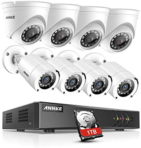 ANNKE Surveillance Camera system 8CH 1080P Lite H.264 DVR with 8 HD 1080P Outdoor Weatherproof Cameras CCTV Security Camera System, 1TB Surveillance Hard Drive, Email Alert with Snapshots
