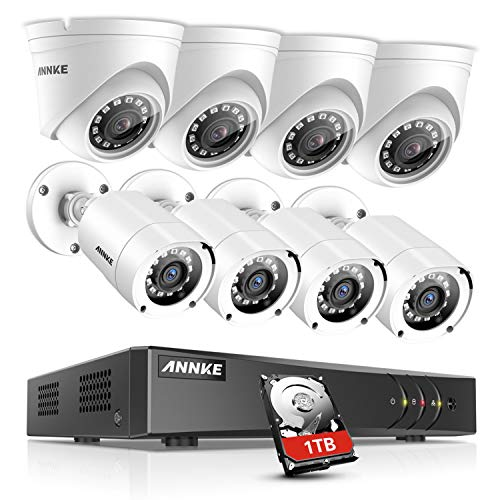 (ANNKE Surveillance Camera system 8CH 1080P Lite H.264+ DVR with (8) HD 1080P Outdoor Weatherproof Cameras CCTV Security Camera System, 1TB Surveillance Hard Drive, Email Alert with Snapshots )