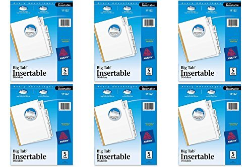 Avery WorkSaver Big Tab Dividers, Clear Tabs, 5-Tab, Letter, White, 6 Packs