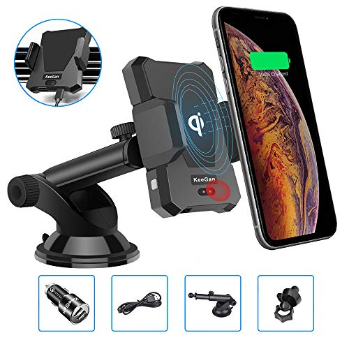 KeeGan Wireless Car Charger Infrared Sensor Mount, Automatic Clamping Cell Phone Holder Compatible with iPhone X/Xs/Xr/ 8/8 Plus & Samsung Galaxy s9/s9 plus/s8/s7/Note 9 and More QI-enabled Smartphone