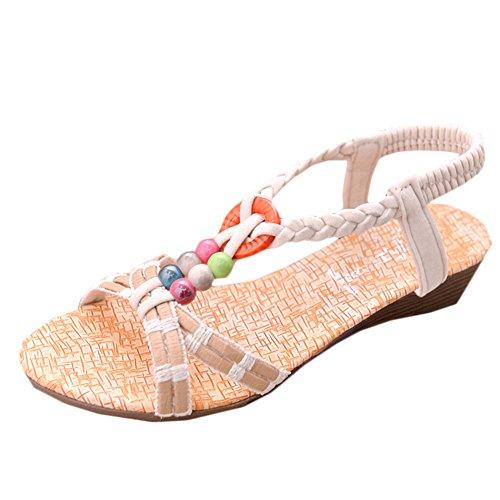 Chic Femme Peep Toe Wedge Tongs Sandales Été Plage Casual bohème Chaussures