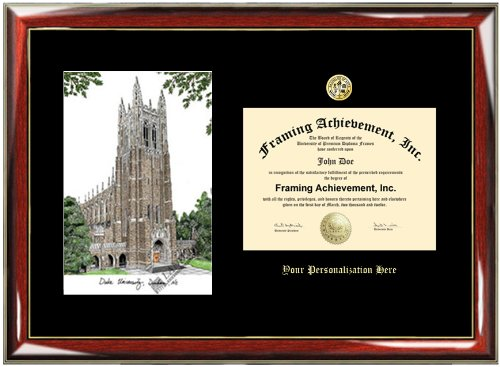 amazoncom gold embossed duke university lithograph horizontal diploma frame choice of college major gold seal insignia premium wood glossy prestige