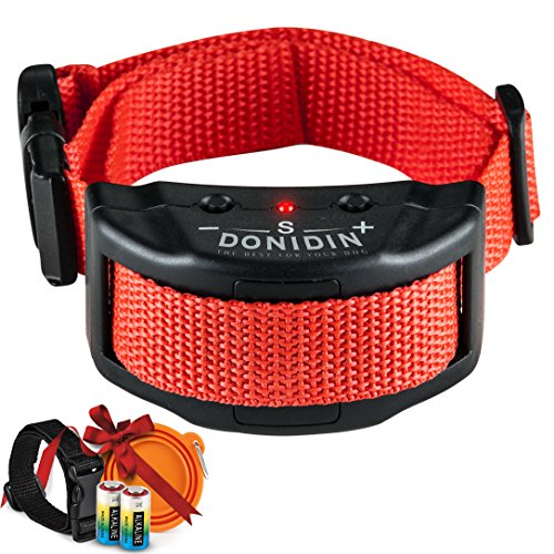 Donidin No Bark Dog Collar, Safely - Stops Incessant Barking, 7 Sensitivity Levels for Small, Medium & Large Dogs (18-120 lbs.), Uses Humane & Static Stimulation With Extra Bonuses by by Donidin