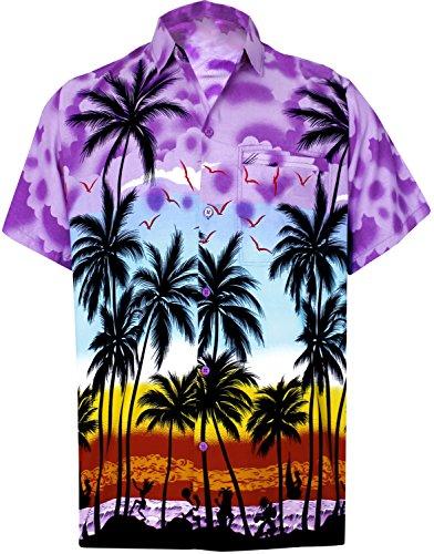 Leela Men's Relaxed Hawaiian Shirt Big and Tall Button Up Shirt L Violet_W141