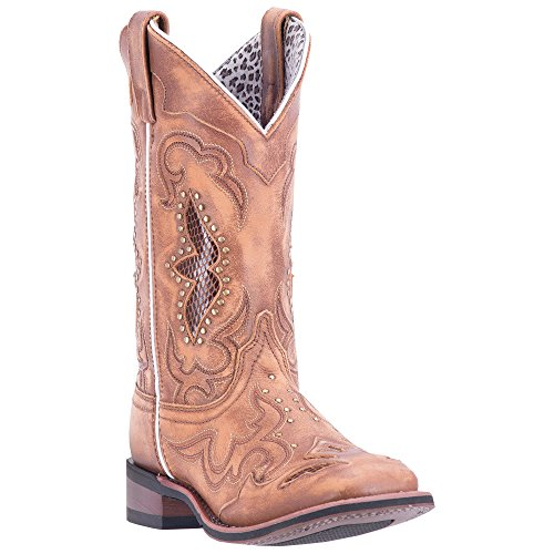 Laredo Womens Tan Cowboy Boots Leather Broad Square Toe 9 W