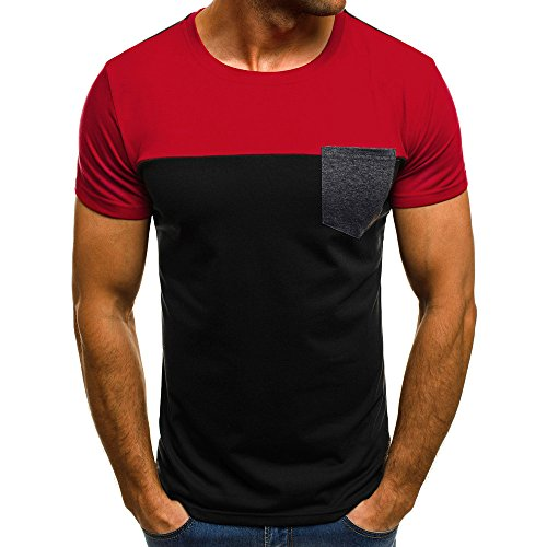 OrchidAmor Men Muscle T-Shirt Slim Casual Fit Short Sleeve Patchwork Pocket Blouse Top RD/M Red -