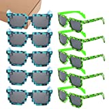 kilofly 10pc 8-Bit Pixel UV Protect Gamer Sunglasses Adult Kids Party Favors