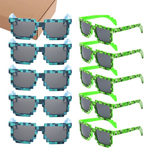 kilofly 10pc 8-Bit Pixel UV Protect Gamer Sunglasses Adult Kids Party - Pixel Bit Sunglasses 8