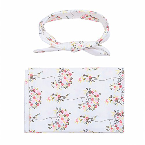 FEESHOW Newborn Toddler Baby Boys Girls Printed Wrap Blanket with Headband White one (Girls Dressing Up Outfits)