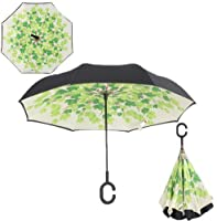 Pansupply Windproof reverse folding double layer inverted car umbrella self stand upside down rain umbrella