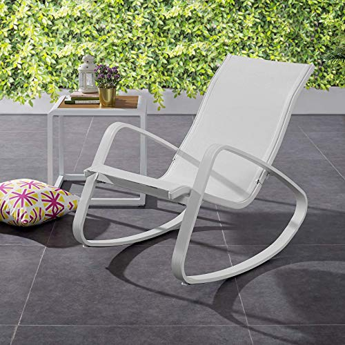 Modway Traveler Outdoor Patio Aluminum Mesh Rocking Sling Lawn Chair Glider in White White