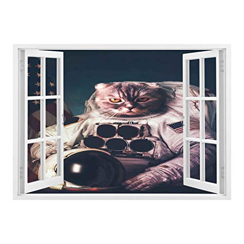 SCOCICI Wall Sticker,Window Looking Out Into/Space Cat,Vintage Image Astronaut Kitty with American Flag with Helmet Image,White Red and Dark Blue/Wall Sticker Mural