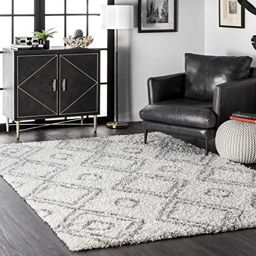nuLOOM Iola Soft & Plush Shag Area Rug, 5′ 3″ x 7′ 6″, White