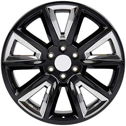 Partsynergy Replacement For Aluminum Alloy Wheel Rim 22'' Fits 1995-2018 Chevy Tahoe Black w/Chrome Inserts 22x9 22' Black And Chrome Rims