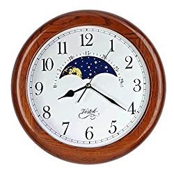 14 Inch Exclusive Solid OAK Wood Non-ticking Sweep Mechanical Specialty Moon Phase Moving Dial Wall Clock, Gift, Home Décor (TCWS712-MD-DARK OAK)