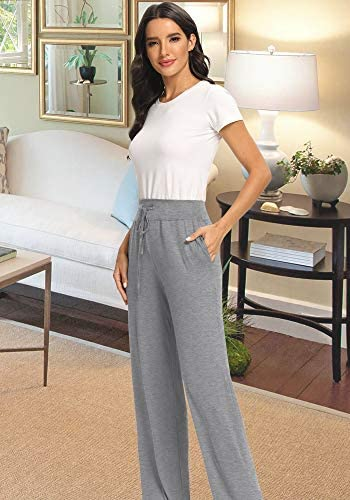 PACBREEZE Women's Loose Yoga Pajama Pants Wide Straight-Leg Casual Workout Running Sporting Active Pants with Pockets 7