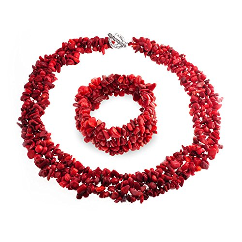 Bling Jewelry Enhanced Red Dye Simulated Coral Cluster Chips Bib Statement Collar Necklace Stretch Womens Bracelet Silver Plated ()