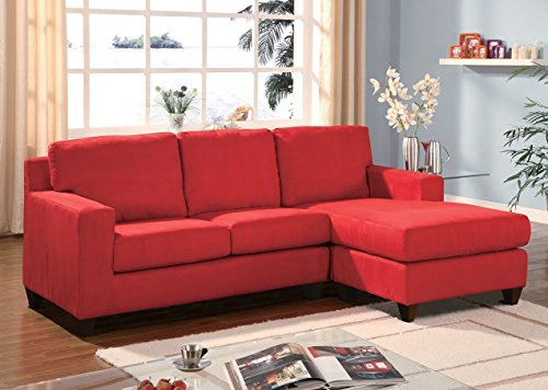 1PerfectChoice Vogue Red Microfiber Reversible Chaise Sectional Sofa