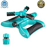 lawn Sprinkler, Automatic 360 Rotating Walking Sprinkler Head Adjustable Best Garden Sprinklers with 3600 SQ FT Coverage Watering System with Leak Free Design Durable 3 Arm Sprinkler
