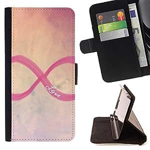 - infinity infinite love sky purple yellow - - Prima caja de la PU billetera de cuero con ranuras para tarjetas, efectivo desmontable correa para l Funny HouseFOR Samsung Galaxy S6