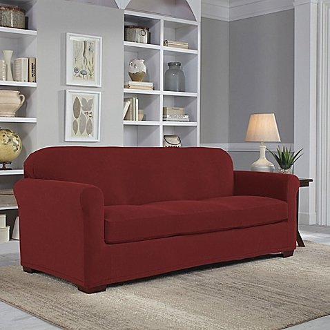 Perfect Fit Easy Fit 2-Piece Sofa Slipcover in Claret