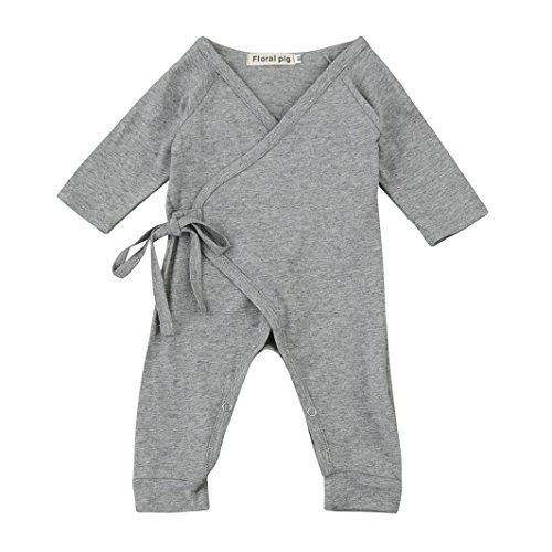 WuyiMC Cute Wings Lacing Romper Jumpsuit Outfits Clothes for Newborn Infant Baby Girls Boys (6-12 Months,90CM, Grey)