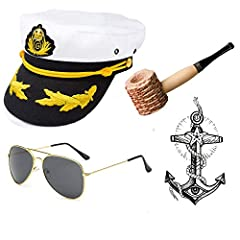 Packet include: 1 x Yacht Captain / Sailor Hat; 1 x Corn Cob Pipe; 1 x Aviator Sunglasses; 1 x Vintage Anchor Temporary Tattoo