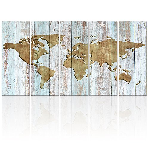 World Map Canvas Art,Vintage map Poster Printed on Canvas with Frame Ready to Hang,Canvas Art,Map of World Canvas Prints Wall Art,Map Poster Artwork (Antique Xlarge) by Visual Art