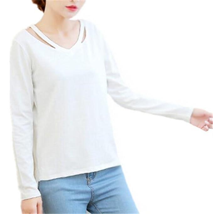 Kerlana Tops Mujeres Manga Larga Cuello V Slim Blusa Moda Color Sólido Shirts Único Camiseta Delgada