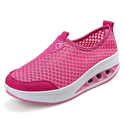 Eagsouni® Damen Netz mit Keilabsatz Laufschuhe Sommer Atmungsaktiv Sportschuhe Rutschfest Aquaschuhe Mesh Sneakers Pink
