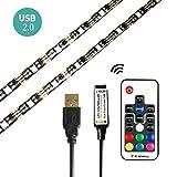 LinKop Bias Lighting for HDTV 5V USB LED Strip RGB Waterproof TV Backlight with Remote Multi Color Background Lighting Kit for TV,Desktop PC etc