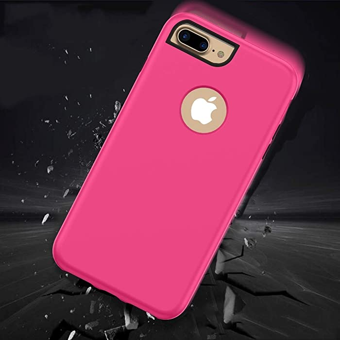 DESHENG Smartphone Protective Clips 3 in 1 Solid Color Combination Case for iPhone 8 Plus & 7 Plus & 6 Plus Phone Bag (Color : Magenta)