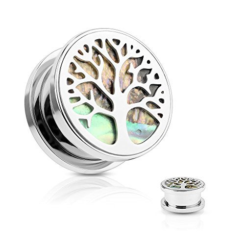 Dynamique Pair of Abalone Inlaid Under Life Tree Top 316L Surgical Steel Screw Fit Flesh Tunnel Plugs