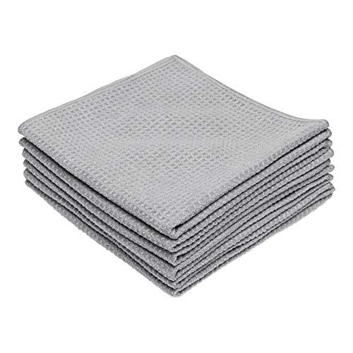 Microfiber Waffle Weave Kitchen and Dish Drying Towels | 16 x 16 in. (6 Pack) | Absorbent, Streak Free, Thick | Gray