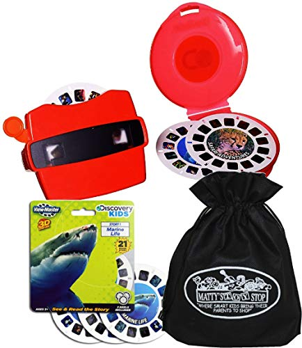 (View Master Classic 3D Adventures Discovery Boxed Set & Marine Life Refill Gift Set Bundle with Bonus Matty's Toy Stop Storage Bag - 2 Pack)