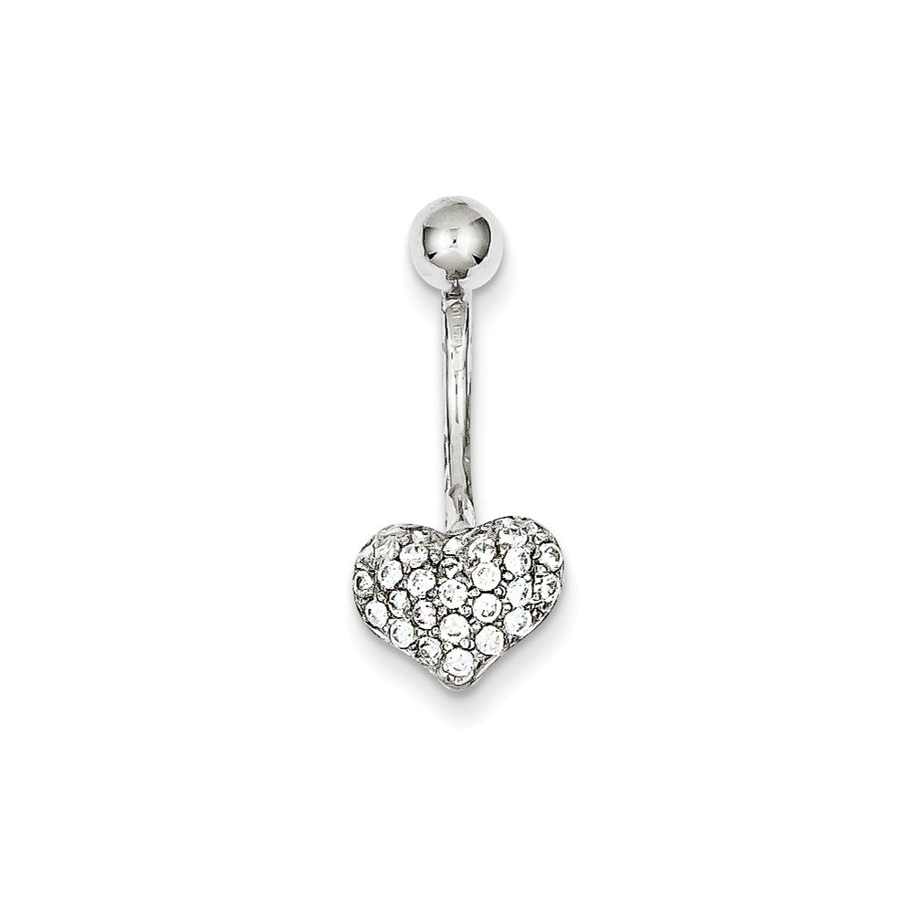 10k White Gold With Pave Cubic Zirconia Heart Belly Ring Dangle