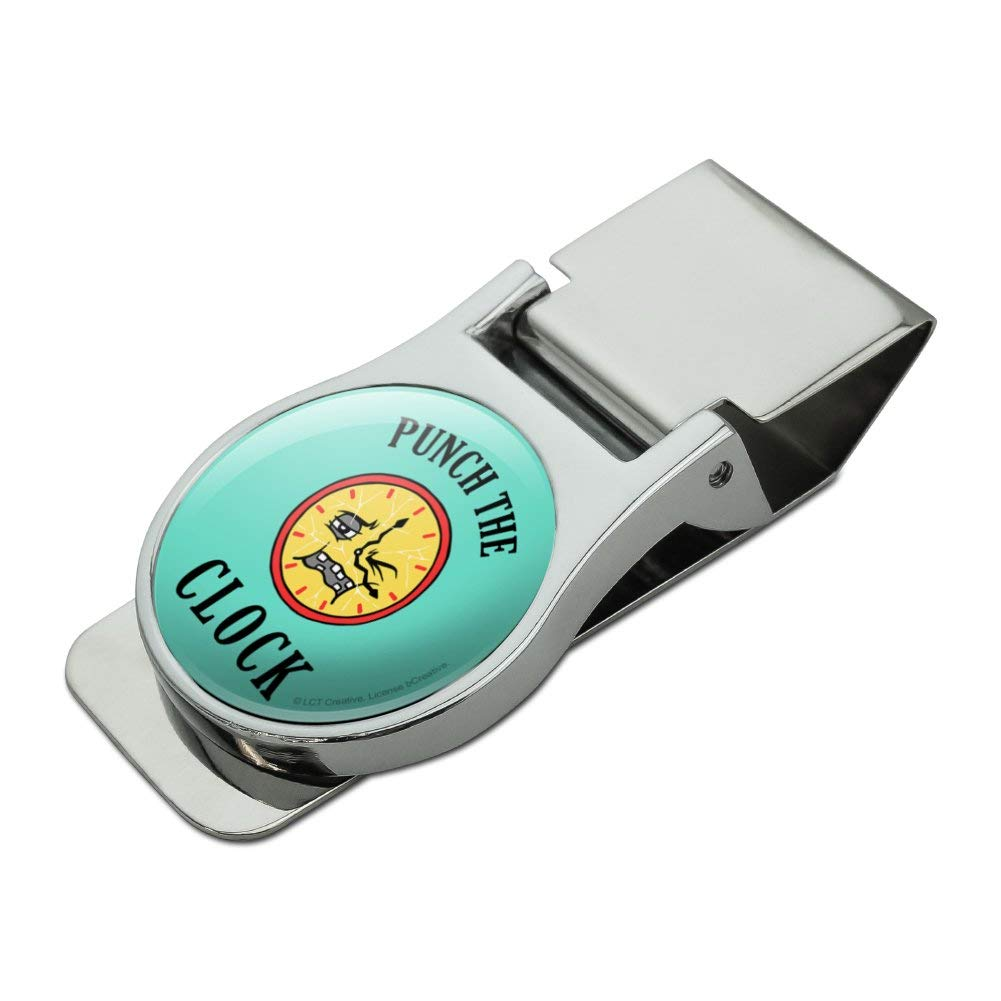 Punch The Clock Funny Humor Satin Chrome Plated Metal Money Clip